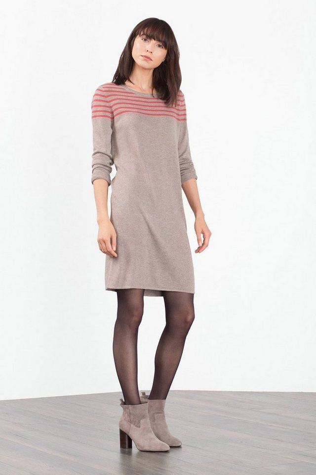 EDC Feinstrick-Kleid mit Streifen in TAUPE