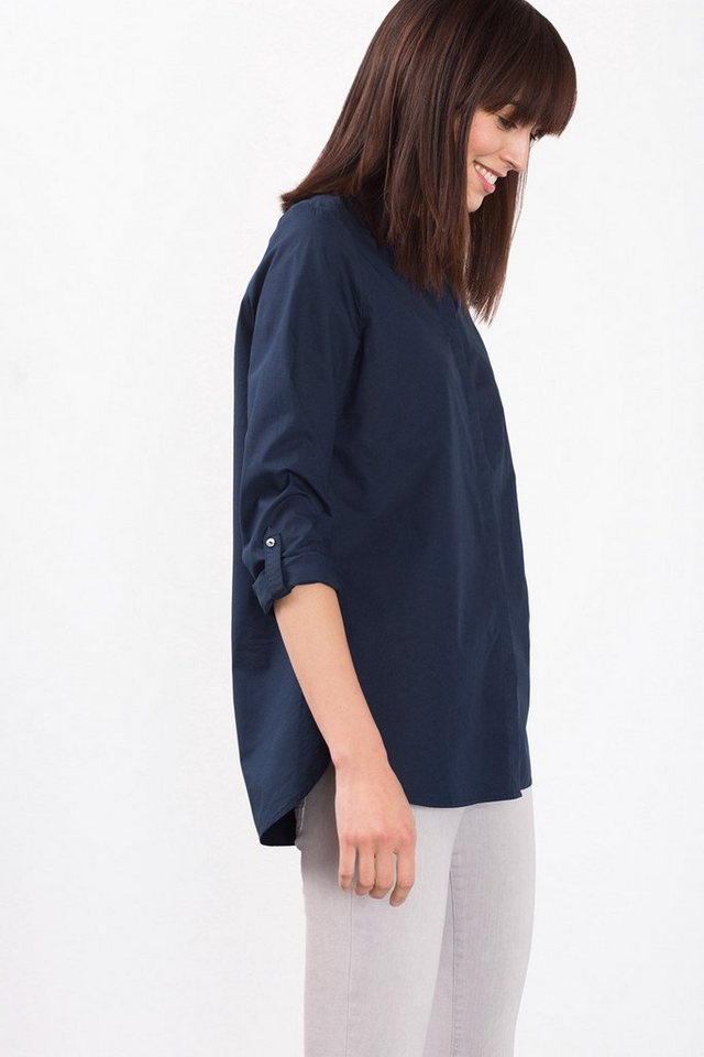 EDC Baumwoll-Bluse mit kleinem Kragen in NAVY
