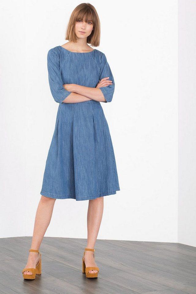 EDC Denim-Kleid aus Baumwolle in BLUE MEDIUM WASHED