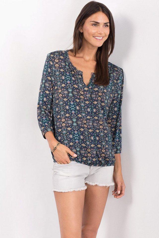 ESPRIT CASUAL Fließendes Stretch-Shirt mit Allover-Print in GREY BLUE