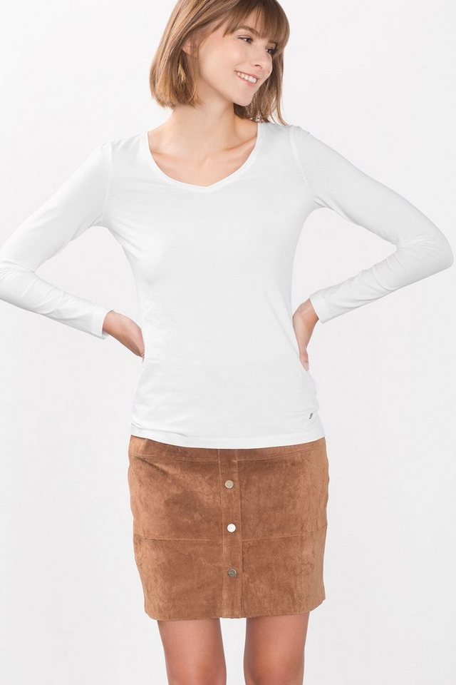 ESPRIT CASUAL Longsleeve mit V-Neck, Baumwolle/Stretch in WHITE