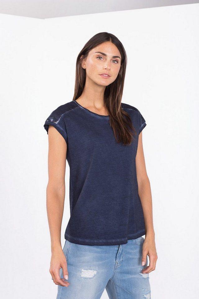 ESPRIT CASUAL -Baumwoll-T-Shirt mit Pailletten-Dekor in NAVY