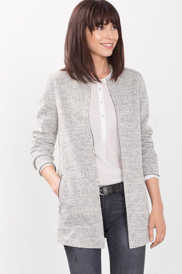 ESPRIT CASUAL Stretch-Blazer mit Jacquardmuster in LIGHT GREY