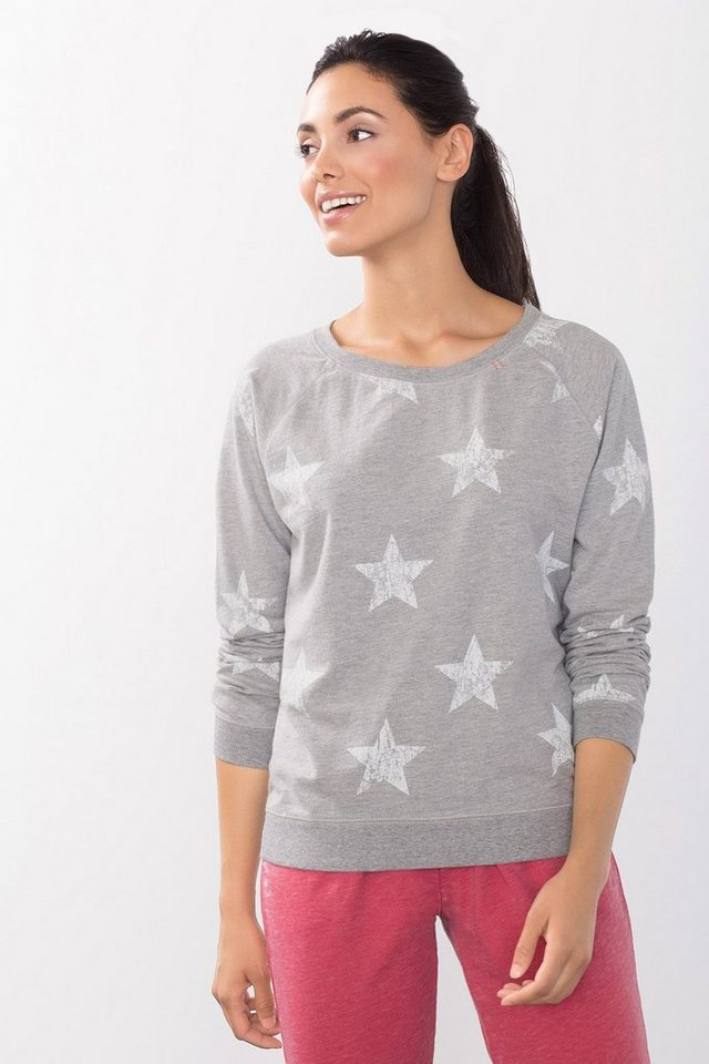 ESPRIT Sport Vintage Sweatshirt mit Prints in LIGHT GREY