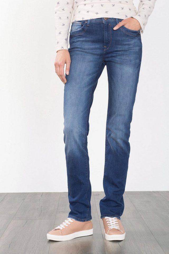 EDC Stretch-Jeans mit Washed-Effekten in BLUE DARK WASHED