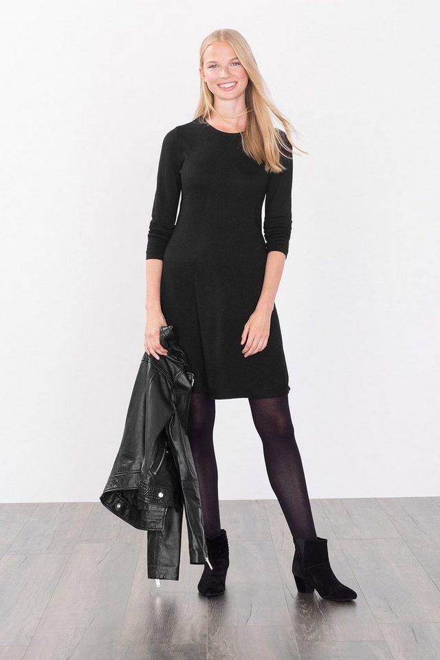 EDC Augestelltes Feinstrick-Kleid in BLACK
