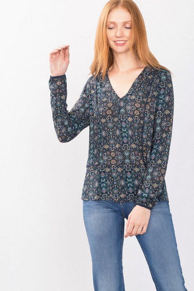 ESPRIT CASUAL Fließende Tunika-Bluse mit V-Ausschnitt in NAVY