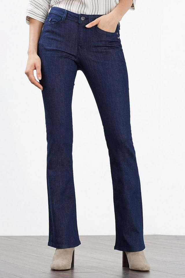 EDC Stretchige Bootcut-Jeans in BLUE RINSE
