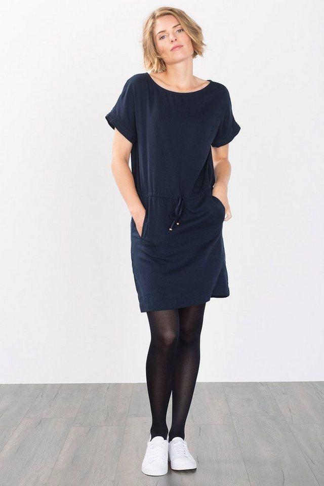 ESPRIT CASUAL Fließendes Kleid mit Piqué-Struktur in NAVY
