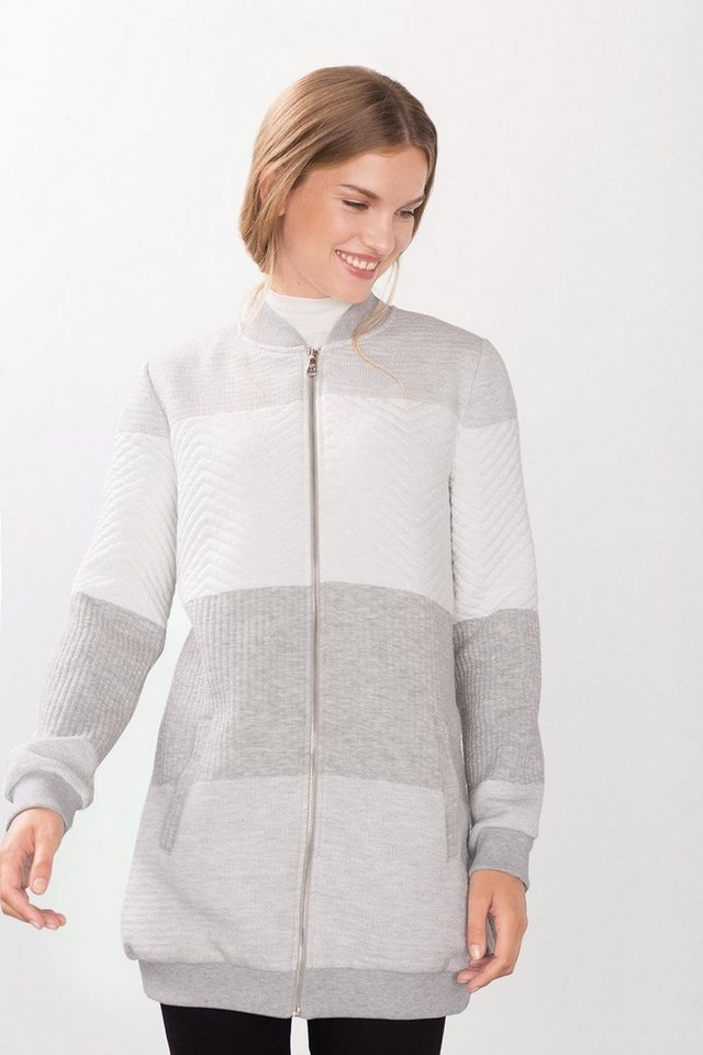 EDC Langer gesteppter Sweat-Bomber in LIGHT GREY