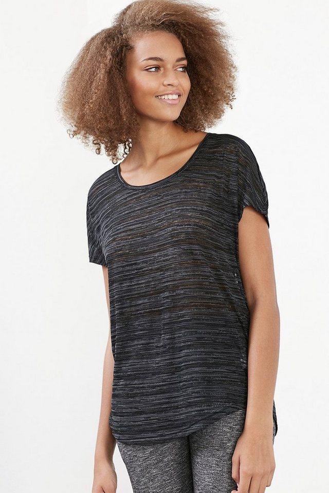 ESPRIT Weiches Mesh Sport T-Shirt mit Print in BLACK
