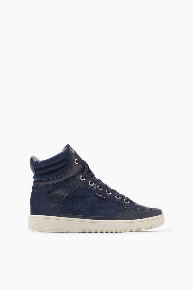 ESPRIT CASUAL Material-Mix High Top Sneaker in NAVY