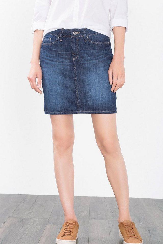 EDC Jeans-Rock aus 100% Baumwolle in BLUE DARK WASHED