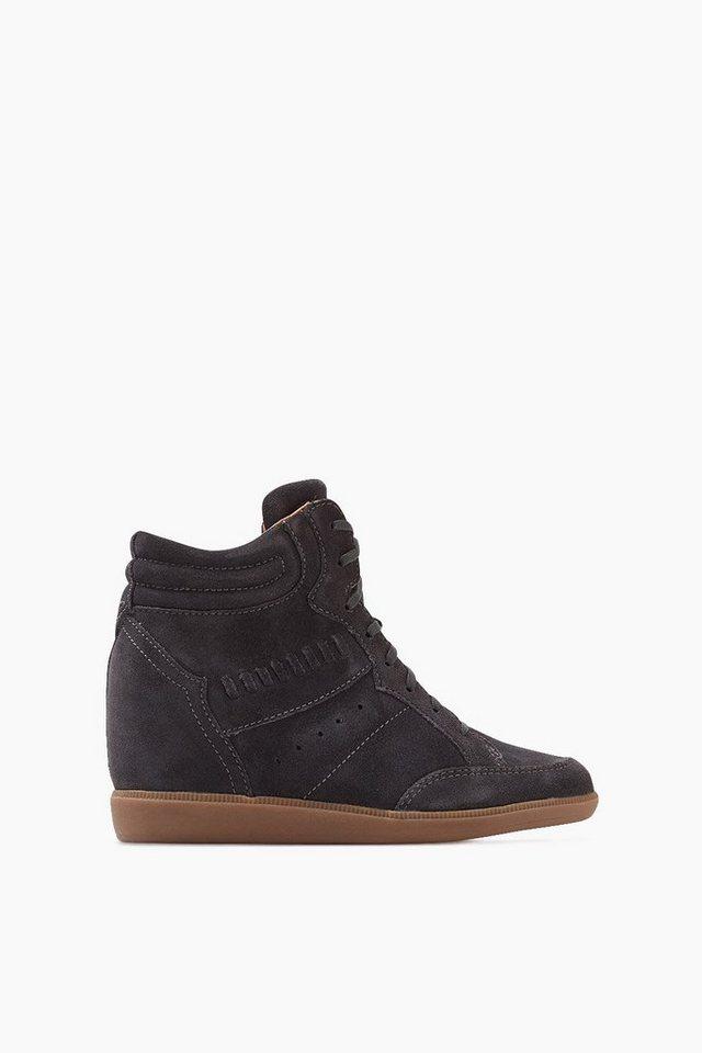 ESPRIT CASUAL Rauleder Sneaker Wedges in ANTHRACITE