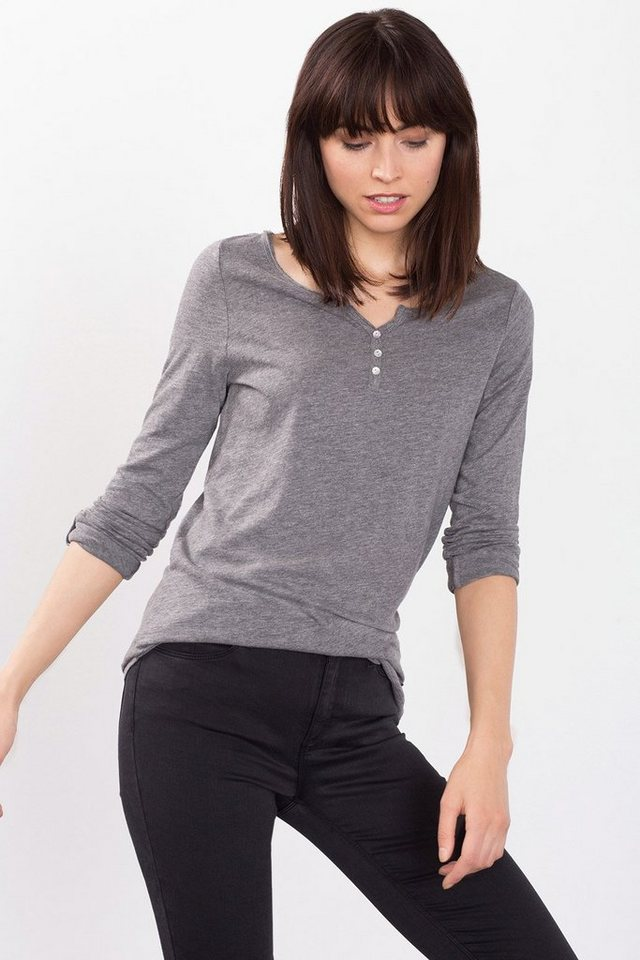 ESPRIT CASUAL Luftiges Henley-Shirt aus 100% Baumwolle in LIGHT GUNMETAL