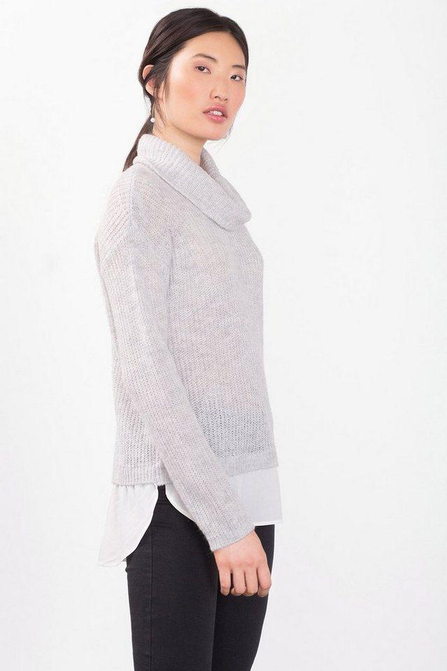 EDC Weicher 2-in-1 Sweater mit Wolle in LIGHT GREY