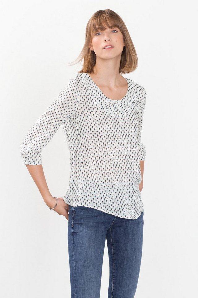 ESPRIT CASUAL Fließende Carmen-Bluse mit Minimal-Print in OFF WHITE