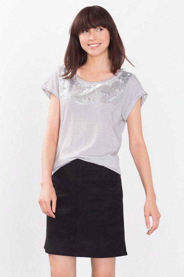 ESPRIT CASUAL Fließendes Shirt mit Pailletten-Dekor in LIGHT GREY