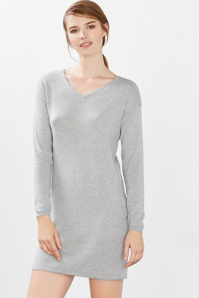 EDC Basic Feinstrick-Kleid in LIGHT GREY
