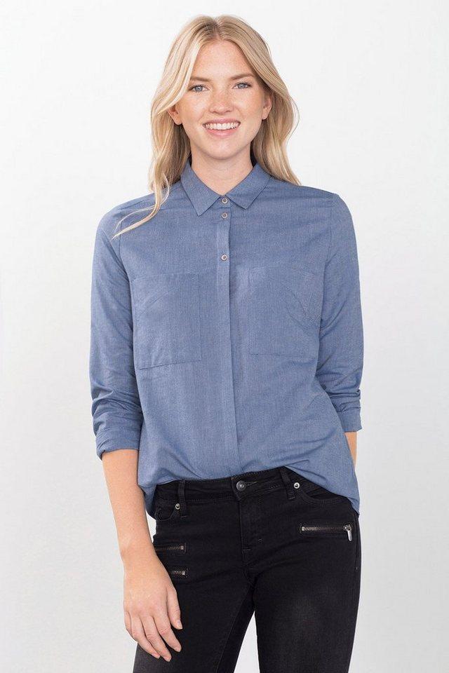 EDC Hemdbluse aus 100% Baumwolle in BLUE