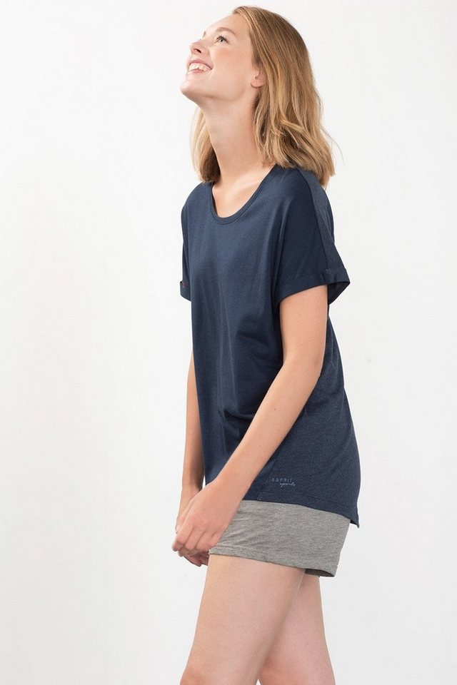ESPRIT Baumwoll-Mix Jersey Sport T-Shirt in NAVY