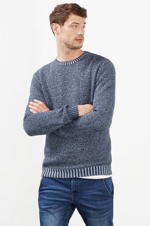 ESPRIT CASUAL 2Tone Pulli mit Muster, 100% Baumwolle in NAVY