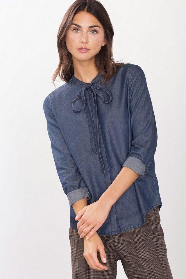 EDC Softe Denim-Bluse mit Schluppen in BLUE DARK WASHED