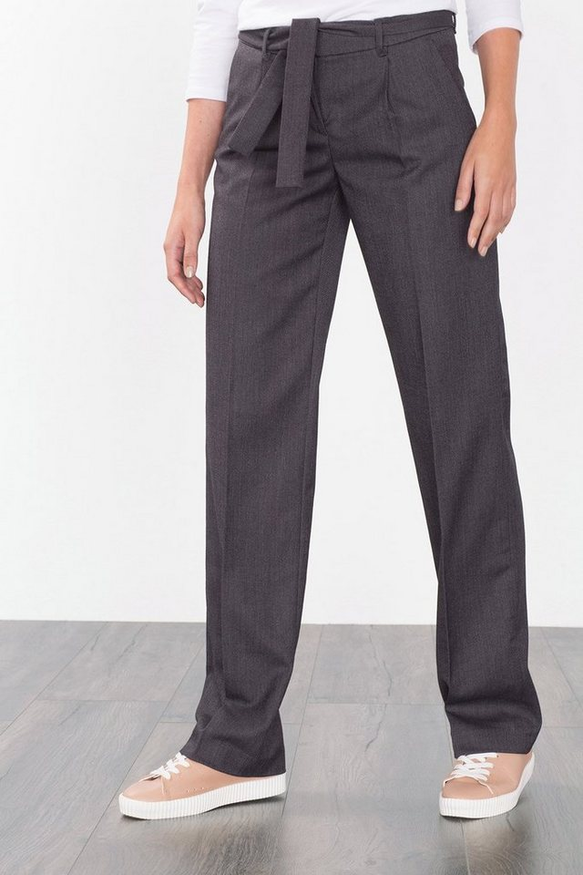 ESPRIT CASUAL Stilvolle Hose mit Bindegürtel in DARK GREY
