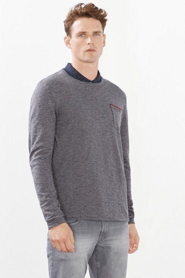 EDC Feinstrick-Pullover, 100% Baumwolle in NEW DARK GREY