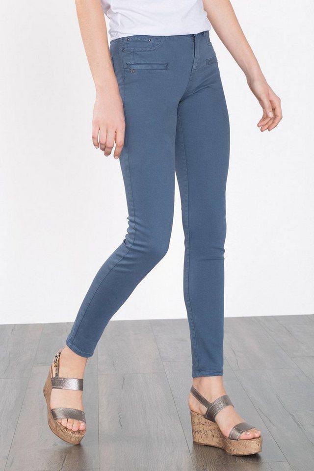 ESPRIT CASUAL Skinny-Stretch-Jeans mit Zierzippern in GREY BLUE
