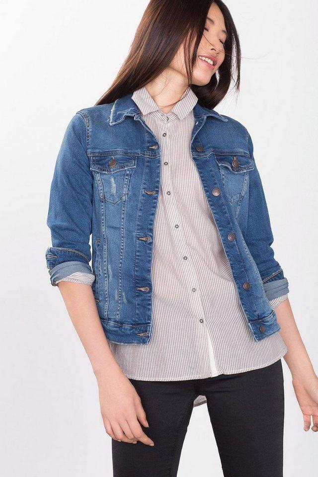 ESPRIT CASUAL Jeans-Jacke mit Stretch und Used-Effekten in BLUE MEDIUM WASHED