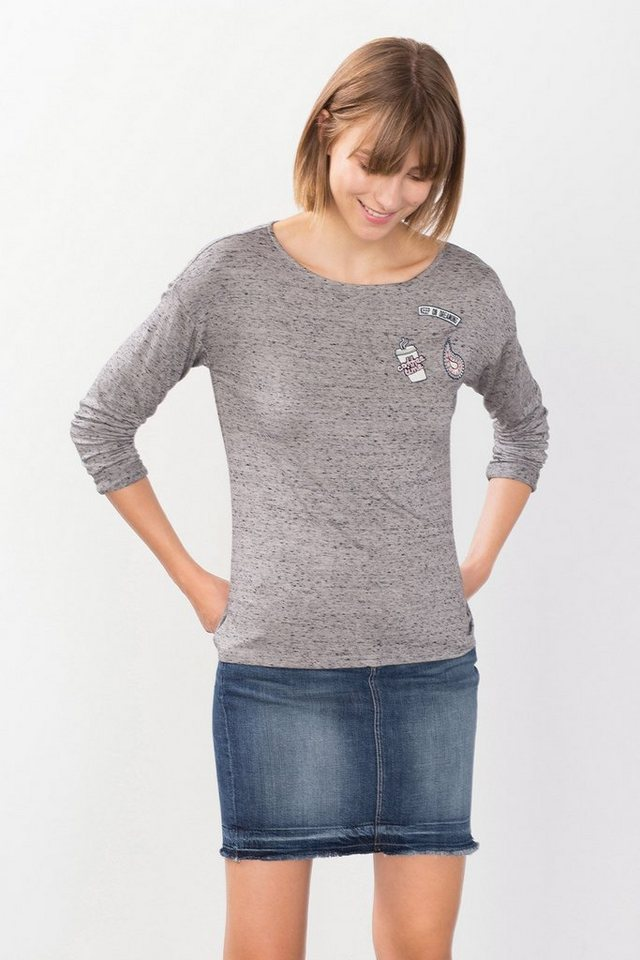 EDC Fließendes Longsleeve mit Patches in LIGHT GREY