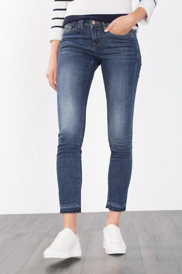 EDC Ankle-Jeans mit Fransensaum in BLUE DARK WASHED
