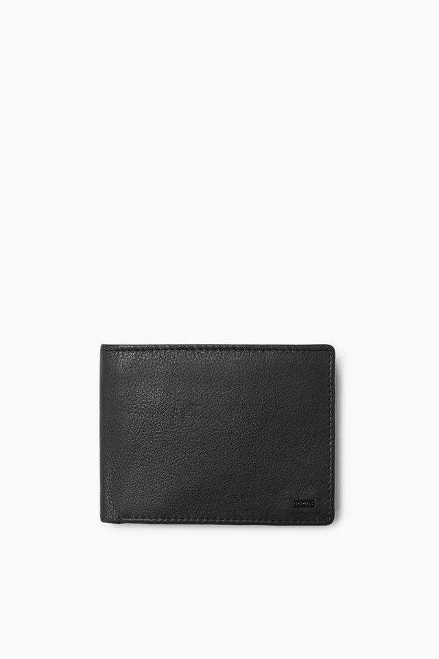 ESPRIT CASUAL Rindslederbörse mit kleiner Logoplakette in BLACK