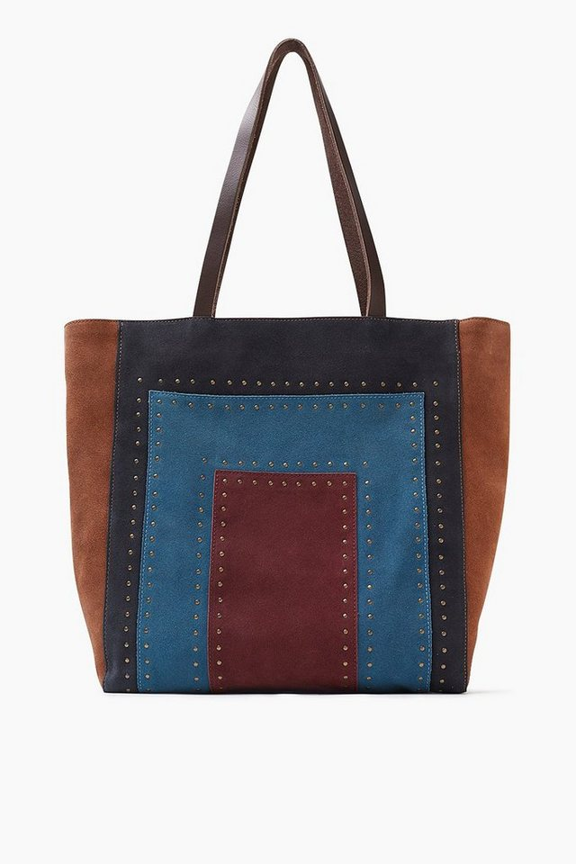 ESPRIT CASUAL Colorblock Shopper aus Veloursleder in RUST BROWN