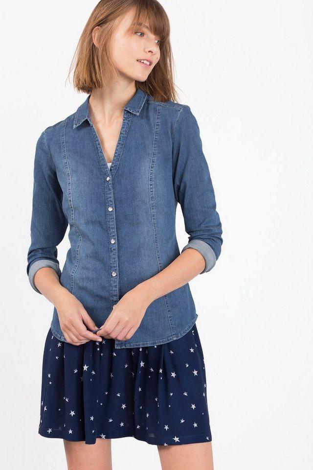 EDC Taillierte Bluse aus Stretch-Denim in BLUE MEDIUM WASHED