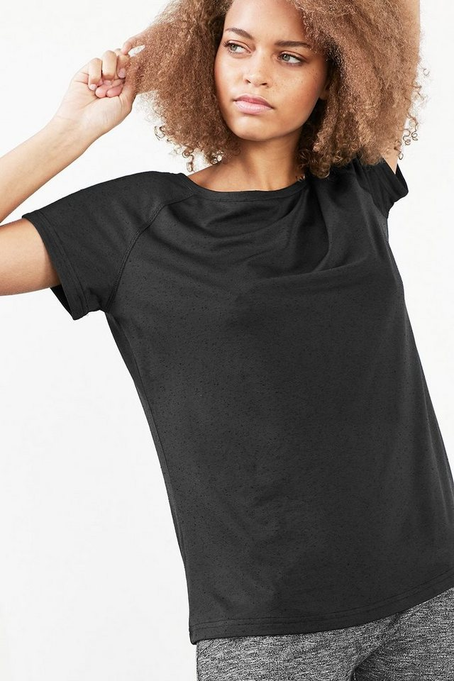 ESPRIT Funktions Jersey Sport T-Shirt mit Struktur in BLACK