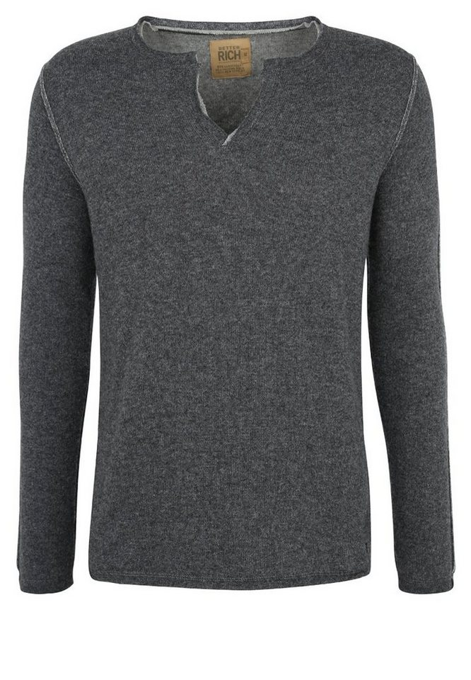 Better Rich Strickpullover »V-NECK DOUBLE« in anthra