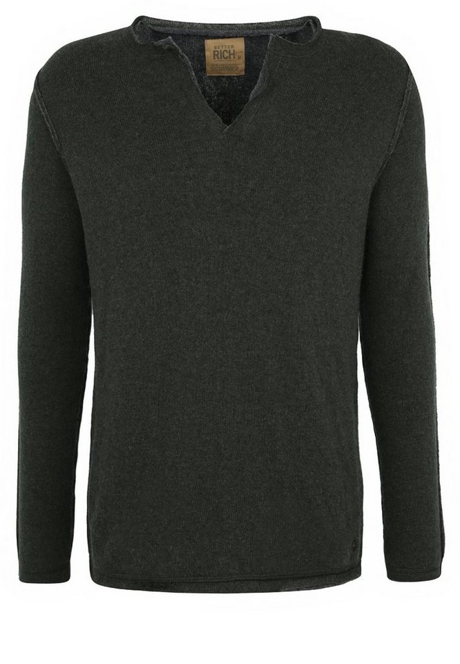 Better Rich Strickpullover »V-NECK DOUBLE« in olive brown