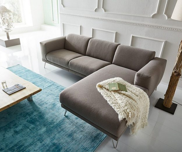 delife eckcouch lordina grau 260x185 cm bauhausstil online. Black Bedroom Furniture Sets. Home Design Ideas