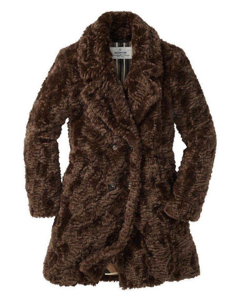 Milestone Fake-Fur Mantel in Braun