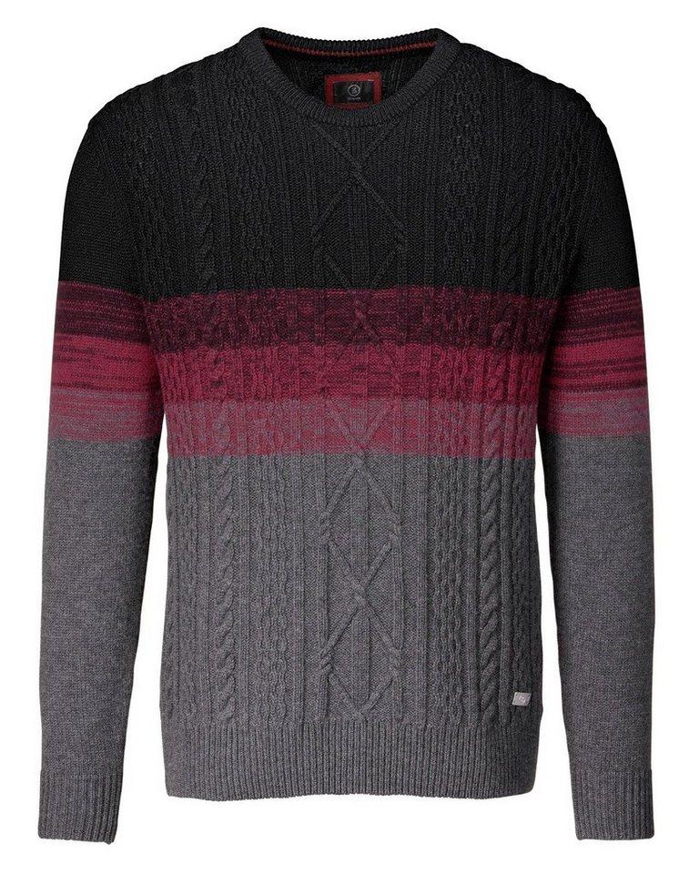Bogner Zopfstrick-Pullover Conan in Schwarz/Grau/Rot