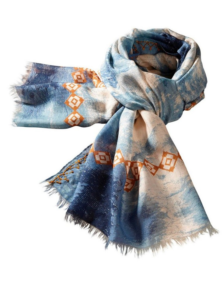 Passigatti Schal in Blau/Braun
