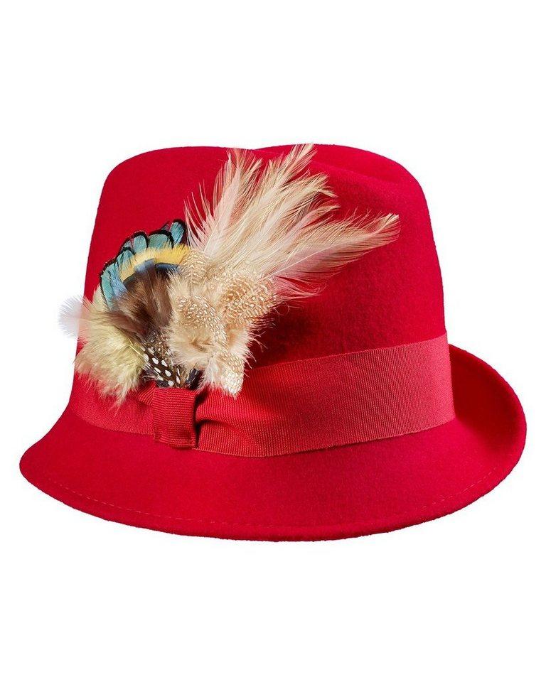 Clarina Hut mit Federn in Rot