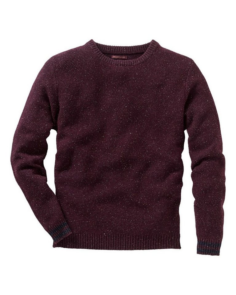 colours & sons Tweed Rundhals Pullover in Bordeaux