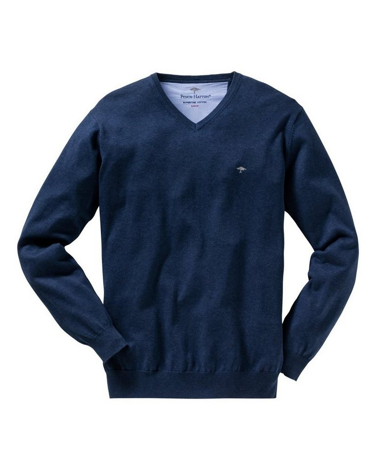 FYNCH-HATTON V-Pullover in Jeansblau