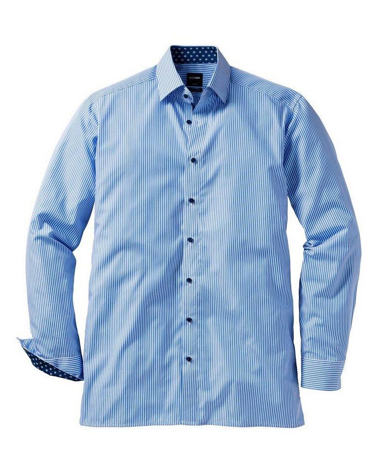 Olymp Luxor modern fit Streifenhemd in Blau