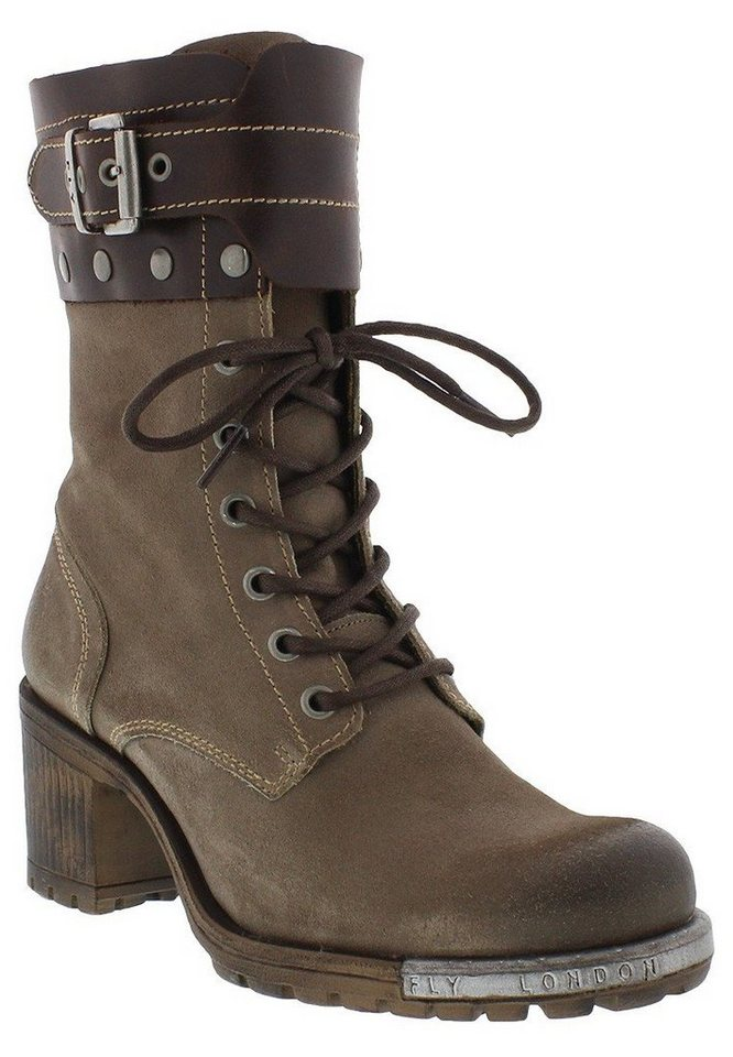 FLY LONDON Schnürstiefelette »Lask oil suede« in taupe