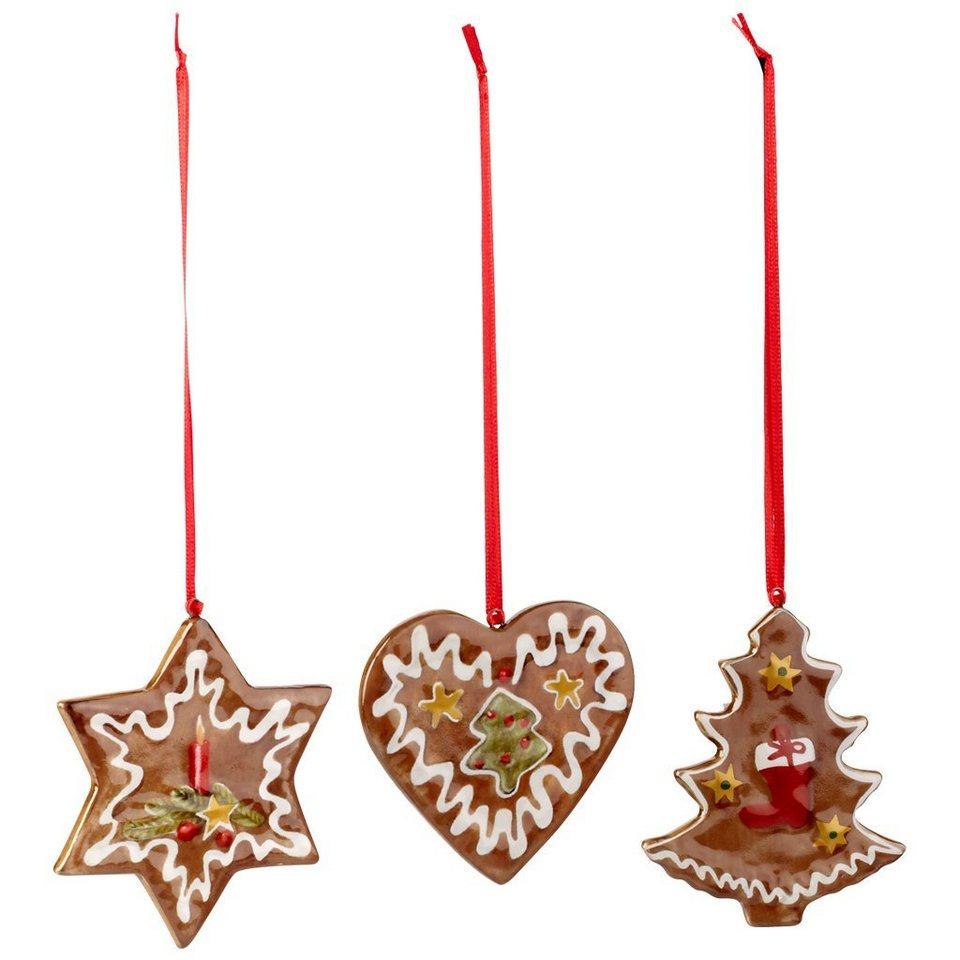 VILLEROY & BOCH Ornamente Lebkuchen, Set 3tlg. 7,5c »Nostalgic Ornaments« in Dekoriert