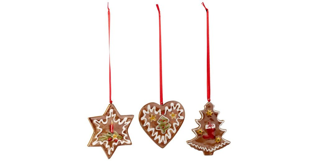 VILLEROY & BOCH Ornamente Lebkuchen, Set 3tlg. 7,5c »Nostalgic Ornaments«